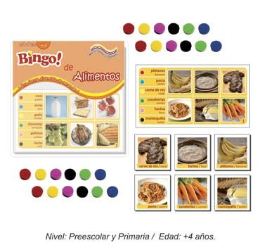 Bingo de Alimentos con 24 tableros