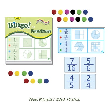Bingo de Fracciones con 24 tableros