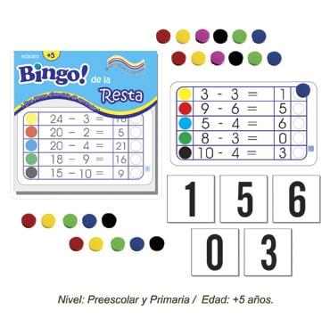 Bingo de la Resta con 24 tableros