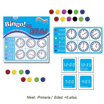 Bingo del Reloj con 24 Tableros